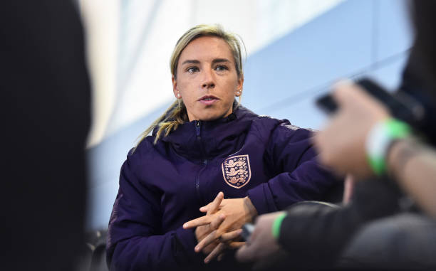 BURTON-UPON-TRENT, ENGLAND - OCTOBER 02: Jordan Nobbs of England talks to the press during the England Women's Senior Team Media Day at St Georges Park on October 02, 2019 in Burton-upon-Trent, England. (Photo by Nathan Stirk/Getty Images)