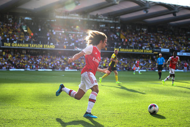 WATFORD, ENGLAND - SEPTEMBER 15: Matteo Guendouzi of Arsenal during the Premier League match between Watford FC and Arsenal FC at Vicarage Road on September 14, 2019 in Watford, United Kingdom. (Photo by Marc Atkins/Getty Images)
