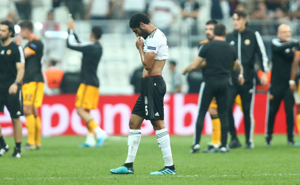 ISTANBUL, TURKEY - OCTOBER 03: Mohamed Elneny of Besiktas reacts at full-time after the UEFA Europa League group K match between Besiktas and Wolverhampton Wanderers at Vodafone Park on October 03, 2019 in Istanbul, Turkey. (Photo by Dean Mouhtaropoulos/Getty Images)
