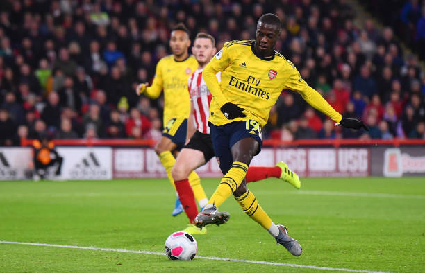 SHEFFIELD, ENGLAND - OCTOBER 21: Nicolas Pepe of Arsenal shoots wide during the Premier League match between Sheffield United and Arsenal FC at Bramall Lane on October 21, 2019 in Sheffield, United Kingdom. (Photo by Laurence Griffiths/Getty Images)