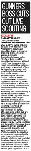 Gunners boss cuts out live scouting by Matt Hughes, Daily Mail, 26 November 2019