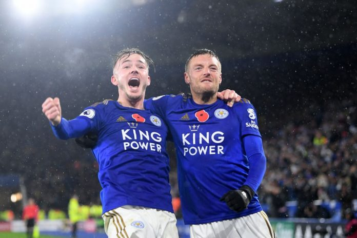 LEICESTER, ENGLAND - NOVEMBER 09: James Maddison of Leicester City celebrates with teammate Jamie Vardy after scoring his team's second goal during the Premier League match between Leicester City and Arsenal FC at The King Power Stadium on November 09, 2019, in Leicester, United Kingdom. (Photo by Michael Regan/Getty Images)