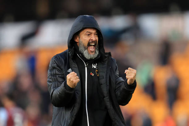 WOLVERHAMPTON, ENGLAND - NOVEMBER 10: Nuno Espirito Santo, Manager of Wolverhampton Wanderers celebrates following his sides victory in the Premier League match between Wolverhampton Wanderers and Aston Villa at Molineux on November 10, 2019 in Wolverhampton, United Kingdom. (Photo by Marc Atkins/Getty Images)