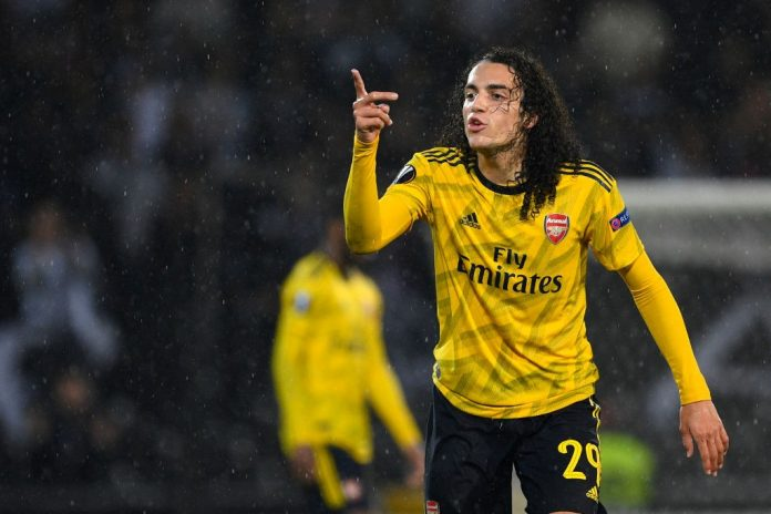 GUIMARAES, PORTUGAL - NOVEMBER 06: Matteo Guendouzi of Arsenal reacts during the UEFA Europa League group F match between Vitoria Guimaraes and Arsenal FC at Estadio Dom Afonso Henriques on November 06, 2019, in Guimaraes, Portugal. (Photo by Octavio Passos/Getty Images)