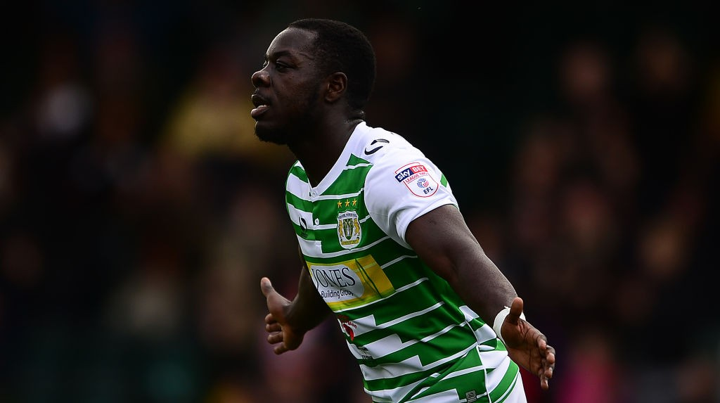YEOVIL, ENGLAND - OCTOBER 28: Olufela Olomola during a spell with Yeovil Town celebrating his side's second goal during the Sky Bet League Two match between Yeovil Town and Stevenage Borough at Huish Park on October 28, 2017 in Yeovil, England. (Photo by Harry Trump/Getty Images)