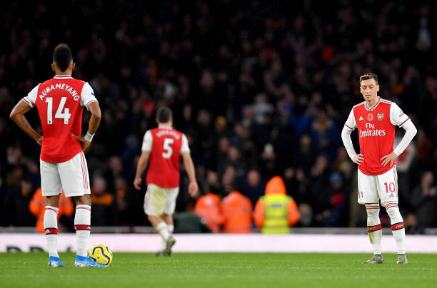 LONDON, ENGLAND - NOVEMBER 02: Mesut Ozil of Arsenal looks on dejected after conceding a goal during the Premier League match between Arsenal FC and Wolverhampton Wanderers at Emirates Stadium on November 02, 2019 in London, United Kingdom. (Photo by Justin Setterfield/Getty Images)