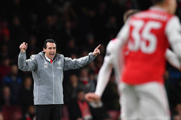 Arsenal's Spanish head coach Unai Emery gestures during their UEFA Europa league Group F football match between Arsenal and Eintracht Frankfurt at the Emirates stadium in London on November 28, 2019. (Photo by DANIEL LEAL-OLIVAS / AFP) (Photo by DANIEL LEAL-OLIVAS/AFP via Getty Images)