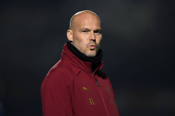 BOREHAMWOOD, ENGLAND - MARCH 29: Freddie Ljungberg, Manager of Arsenal reacts during the Premier League 2 match between Arsenal and West Ham United at Meadow Park on March 29, 2019 in Borehamwood, England. (Photo by Harriet Lander/Getty Images)