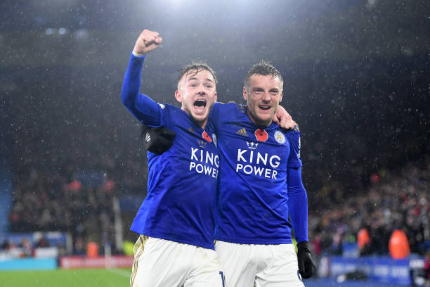 LEICESTER, ENGLAND - NOVEMBER 09: James Maddison of Leicester City celebrates with teammate Jamie Vardy after scoring his team's second goal during the Premier League match between Leicester City and Arsenal FC at The King Power Stadium on November 09, 2019 in Leicester, United Kingdom. (Photo by Michael Regan/Getty Images)