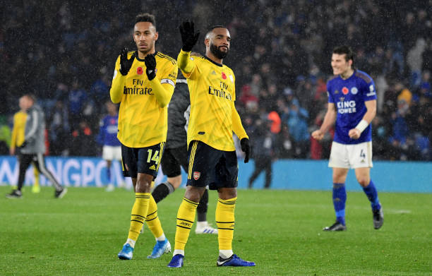 LEICESTER, ENGLAND - NOVEMBER 09: Pierre-Emerick Aubameyang and Alexandre Lacazette of Arsenal after the Premier League match between Leicester City and Arsenal FC at The King Power Stadium on November 09, 2019 in Leicester, United Kingdom. (Photo by Ross Kinnaird/Getty Images)