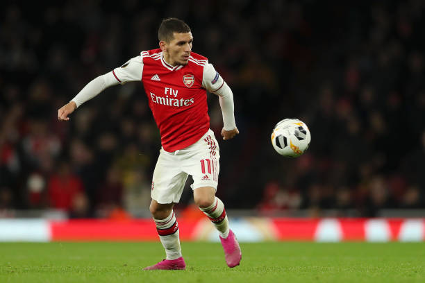 LONDON, ENGLAND - OCTOBER 24: Lucas Torreira of Arsenal in action during the UEFA Europa League group F match between Arsenal FC and Vitoria Guimaraes at Emirates Stadium on October 24, 2019 in London, United Kingdom. (Photo by Naomi Baker/Getty Images)