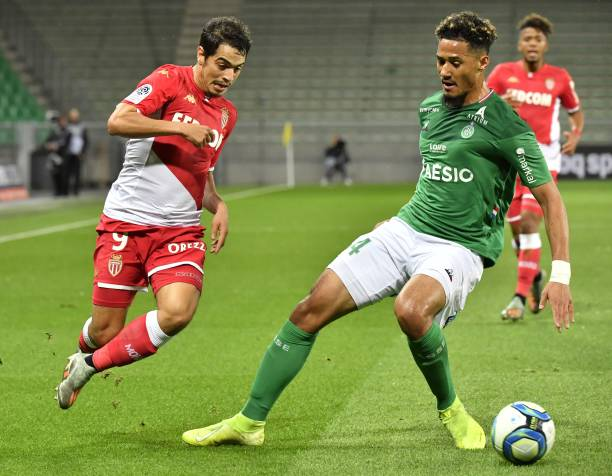 Saint-Etienne's French defender William Saliba (R) vies with Monaco's French forward Wissam Ben Yedder during the French L1 football match between AS Saint-Etienne and AS Monaco at the Geoffroy Guichard Stadium in Saint-Etienne, central France on November 3, 2019. (Photo by PHILIPPE DESMAZES / AFP)