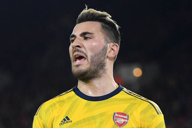 SHEFFIELD, ENGLAND - OCTOBER 21: Sead Kolasinac of Arsenal reacts during the Premier League match between Sheffield United and Arsenal FC at Bramall Lane on October 21, 2019 in Sheffield, United Kingdom. (Photo by Michael Regan/Getty Images)