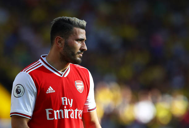 WATFORD, ENGLAND - SEPTEMBER 15: Sead Kolasinac of Arsenal looks on during the Premier League match between Watford FC and Arsenal FC at Vicarage Road on September 15, 2019 in Watford, United Kingdom. (Photo by Julian Finney/Getty Images)