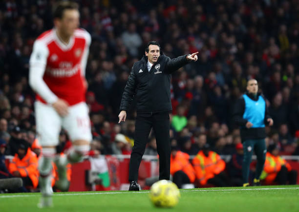 LONDON, ENGLAND - NOVEMBER 23: Unai Emery manager of Arsenal during the Premier League match between Arsenal FC and Southampton FC at Emirates Stadium on November 23, 2019 in London, United Kingdom. (Photo by Julian Finney/Getty Images)
