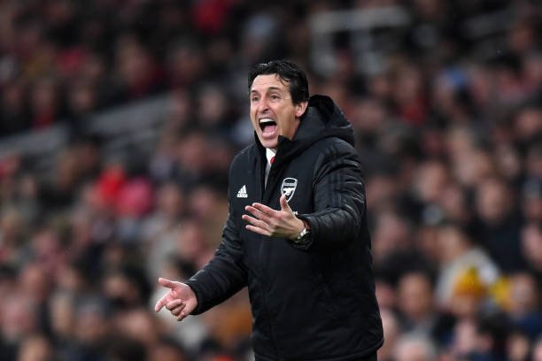 LONDON, ENGLAND - NOVEMBER 23: Unai Emery, Manager of Arsenal looks on during the Premier League match between Arsenal FC and Southampton FC at Emirates Stadium on November 23, 2019 in London, United Kingdom. (Photo by Shaun Botterill/Getty Images)