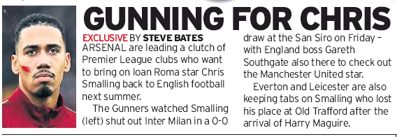 Arsenal leading Premier League clubs chasing transfer of Man Utd's Chris Smalling - Sunday Mirror 8 December 2019