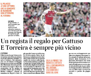 A director with a gift for Gattuso and Torreira is nearer - Il Mattino, 23 December 2019