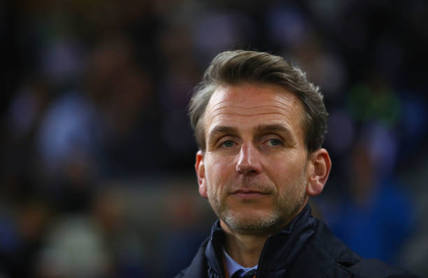 GENK, BELGIUM - APRIL 20: Albert Stuivenberg, coach of Genk looks on prior to the UEFA Europa League quarter final second leg between KRC Genk and Celta Vigo at Luminus Arena on April 20, 2017 in Genk, Belgium. (Photo by Dean Mouhtaropoulos/Getty Images)