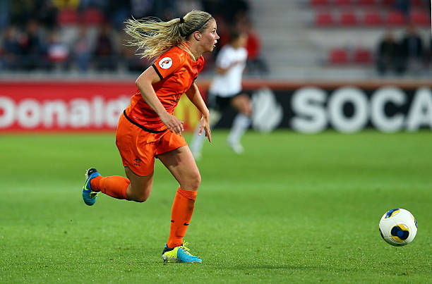 VAXJO, SWEDEN - JULY 11: Anouk Hoogendijk of Netherlands runs with the ball during the UEFA Women's Euro 2013 group B match at Vaxjo Arena on July 11, 2013 in Vaxjo, Sweden. (Photo by Martin Rose/Getty Images)