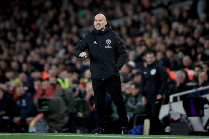 LONDON, ENGLAND - DECEMBER 05: Freddie Ljungberg caretaker Arsenal coach during the Premier League match between Arsenal FC and Brighton & Hove Albion at Emirates Stadium on December 5, 2019, in London, United Kingdom. (Photo by Marc Atkins/Getty Images)