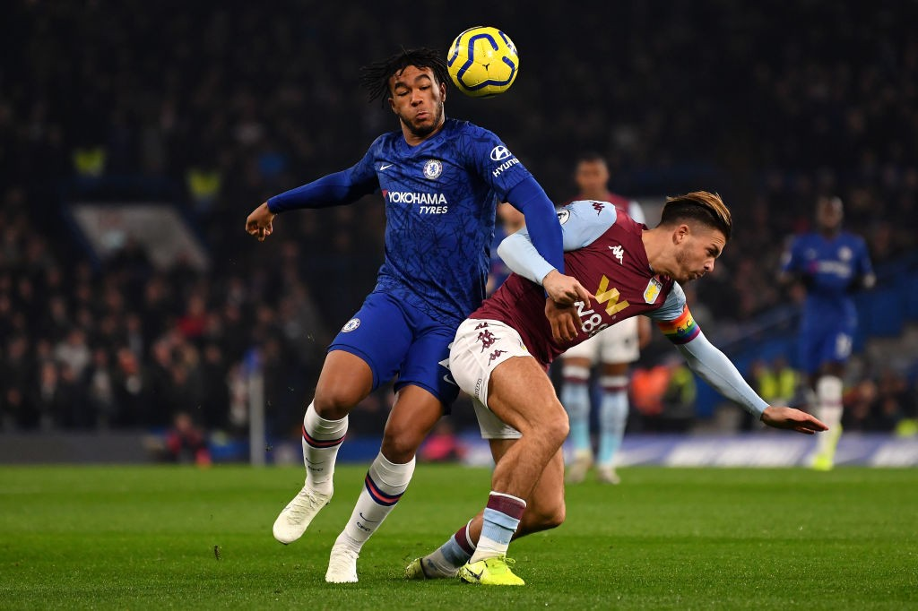LONDON, ENGLAND - DECEMBER 04: Reece James of Chelsea and Jack Grealish of Aston Villa clash during the Premier League match between Chelsea FC and Aston Villa at Stamford Bridge on December 04, 2019, in London, United Kingdom. (Photo by Justin Setterfield/Getty Images)