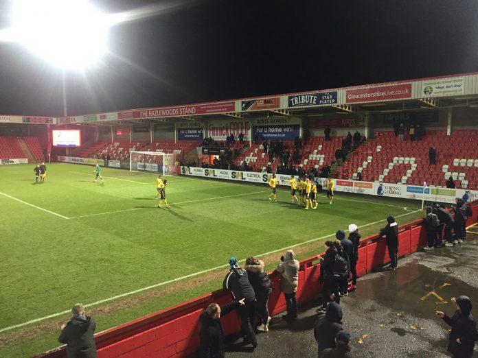 Arsenal u18s away to Cheltenham Town (Photo via Twitter / GaryGunnerJone1)