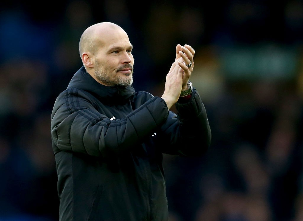 LIVERPOOL, ENGLAND - DECEMBER 21: Interim Manager of Arsenal, Freddie Ljungberg acknowledges the fans after the Premier League match between Everton FC and Arsenal FC at Goodison Park on December 21, 2019, in Liverpool, United Kingdom. (Photo by Jan Kruger/Getty Images)