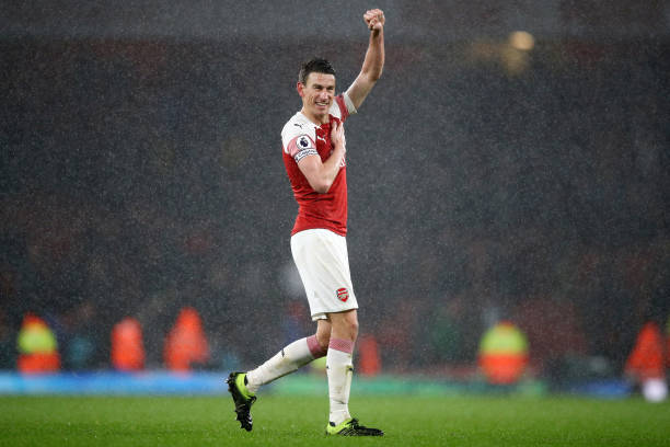 LONDON, ENGLAND - MARCH 10: Laurent Koscielny of Arsenal celebrates victory following the Premier League match between Arsenal FC and Manchester United at Emirates Stadium on March 10, 2019 in London, United Kingdom. (Photo by Julian Finney/Getty Images)