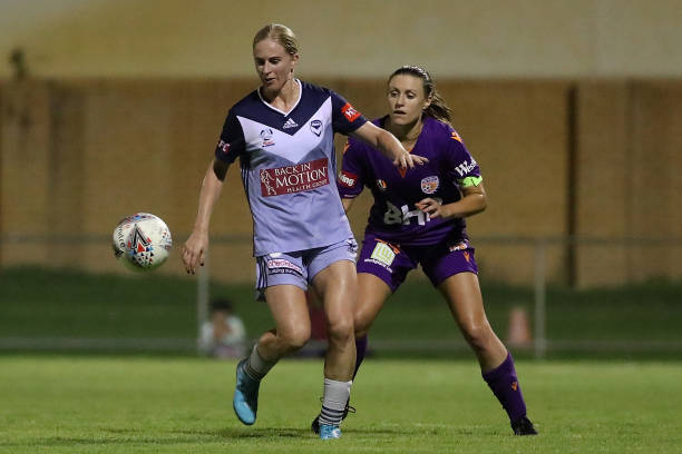 PERTH, AUSTRALIA - DECEMBER 28: Natasha Dowie of the Melbourne Victory in action during the round 7 W-League match between Perth Glory and Melbourne Victory at Dorrien gardens on December 28, 2019 in Perth, Australia. (Photo by Paul Kane/Getty Images)
