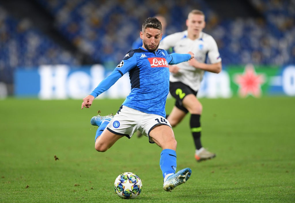 NAPLES, ITALY - DECEMBER 10: Dries Mertens of SSC Napoli during the UEFA Champions League group E match between SSC Napoli and KRC Genk at Stadio San Paolo on December 10, 2019, in Naples, Italy. (Photo by Francesco Pecoraro/Getty Images)