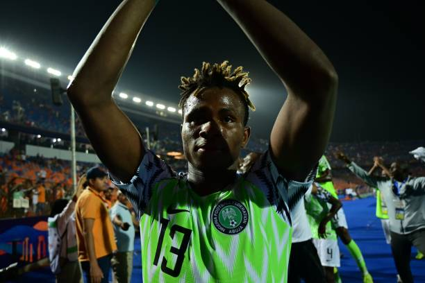 Nigeria's forward Samuel Chukwueze celebrates the win during the 2019 Africa Cup of Nations (CAN) quarter final football match between Nigeria and South Africa at Cairo international stadium on July 9, 2019. (Photo by Giuseppe CACACE / AFP)