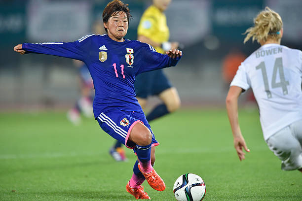 MARUGAME, JAPAN - MAY 24: Shinobu Ohno of Japan in action during the MS&AD Nadeshiko Cup 2015 women's soccer international friendly match between Japan and New Zealand at Kagawa Prefectural Marugame Stadium on May 24, 2015 in Marugame, Japan. (Photo by Koki Nagahama/Getty Images)
