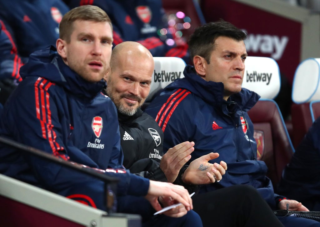 LONDON, ENGLAND - DECEMBER 09: Freddie Ljungberg, Interim Manager of Arsenal during the Premier League match between West Ham United and Arsenal FC at London Stadium on December 09, 2019, in London, United Kingdom. (Photo by Julian Finney/Getty Images)