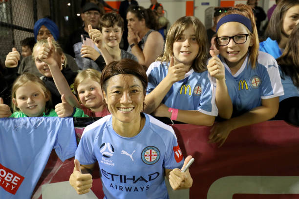 SHEPPARTON, AUSTRALIA - NOVEMBER 30: Yukari Kinga of Melbourne City celebrates with fans during the round three W-League match between Melbourne City and Adelaide United at John McEwan Reserve on November 30, 2019 in Shepparton, Australia. (Photo by Jonathan DiMaggio/Getty Images)