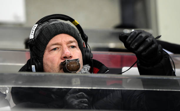 NEWCASTLE UPON TYNE, ENGLAND - JANUARY 02: Ex Newcastle United player Alan Shearer is seen commentating prior to the Premier League match between Newcastle United and Manchester United at St. James Park on January 2, 2019 in Newcastle upon Tyne, United Kingdom. (Photo by Stu Forster/Getty Images)