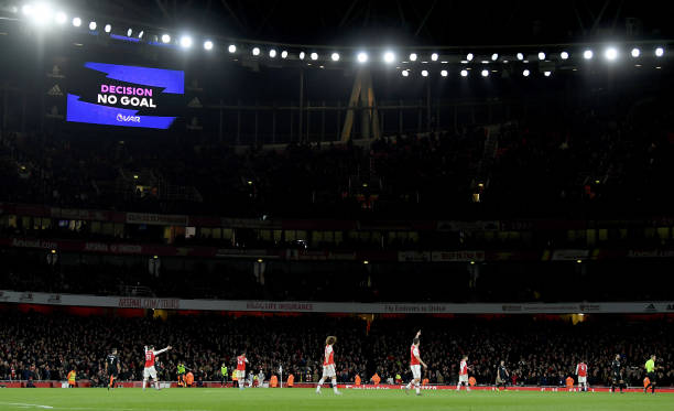LONDON, ENGLAND - DECEMBER 05: No gaol by David Luiz of Arsenal after VAR review during the Premier League match between Arsenal FC and Brighton & Hove Albion at Emirates Stadium on December 05, 2019 in London, United Kingdom. (Photo by Mike Hewitt/Getty Images)