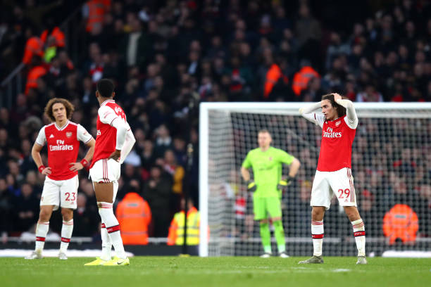 LONDON, ENGLAND - DECEMBER 29: Matteo Guendouzi of Arsenal reacts during the Premier League match between Arsenal FC and Chelsea FC at Emirates Stadium on December 29, 2019 in London, United Kingdom. (Photo by Julian Finney/Getty Images)
