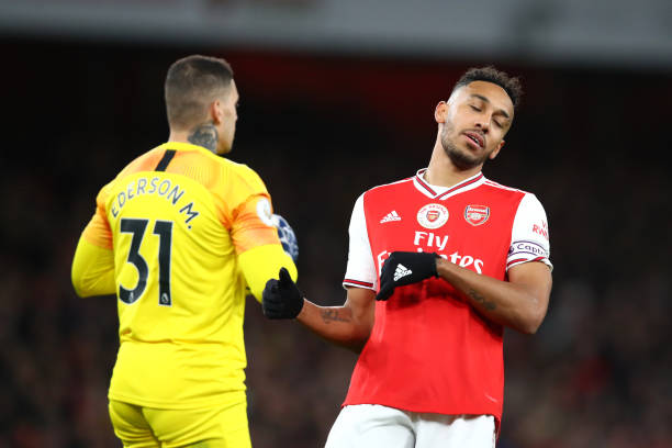 LONDON, ENGLAND - DECEMBER 15: Pierre-Emerick Aubameyang of Arsenal reacts during the Premier League match between Arsenal FC and Manchester City at Emirates Stadium on December 15, 2019 in London, United Kingdom. (Photo by Julian Finney/Getty Images)