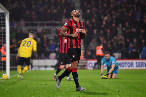 BOURNEMOUTH, ENGLAND - DECEMBER 26: Callum Wilson of AFC Bournemouth reacts after scoring a goal past Bernd Leno of Arsenal which is later ruled off for offside during the Premier League match between AFC Bournemouth and Arsenal FC at Vitality Stadium on December 26, 2019 in Bournemouth, United Kingdom. (Photo by Dan Mullan/Getty Images)