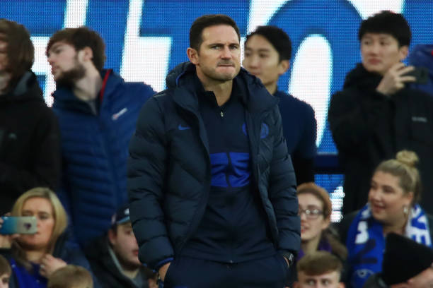 LIVERPOOL, ENGLAND - DECEMBER 07: Frank Lampard, Manager of Chelsea looks on during the Premier League match between Everton FC and Chelsea FC at Goodison Park on December 07, 2019 in Liverpool, United Kingdom. (Photo by Clive Brunskill/Getty Images)