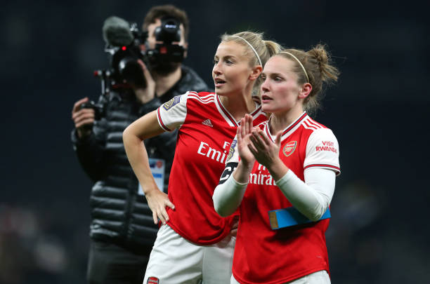 LONDON, ENGLAND - NOVEMBER 17: Kim Little and Leah Williamson of Arsenal after the Barclays FA Women's Super League match between Tottenham Hotspur and Arsenal at Tottenham Hotspur Stadium on November 17, 2019 in London, United Kingdom. (Photo by Catherine Ivill/Getty Images)