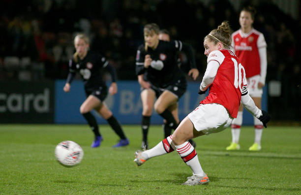 BOREHAMWOOD, ENGLAND - NOVEMBER 21: Kim Little of Arsenal Women scores her sides third goal from the penalty spot during the FA Women's Continental League Cup game between Arsenal Women and Bristol City Women at Meadow Park on November 21, 2019 in Borehamwood, England. (Photo by James Chance/Getty Images)