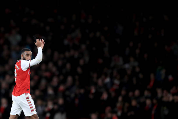 LONDON, ENGLAND - DECEMBER 05: Alexandre Lacazette of Arsenal applauds as he is substituted during the Premier League match between Arsenal FC and Brighton & Hove Albion at Emirates Stadium on December 5, 2019 in London, United Kingdom. (Photo by Marc Atkins/Getty Images)