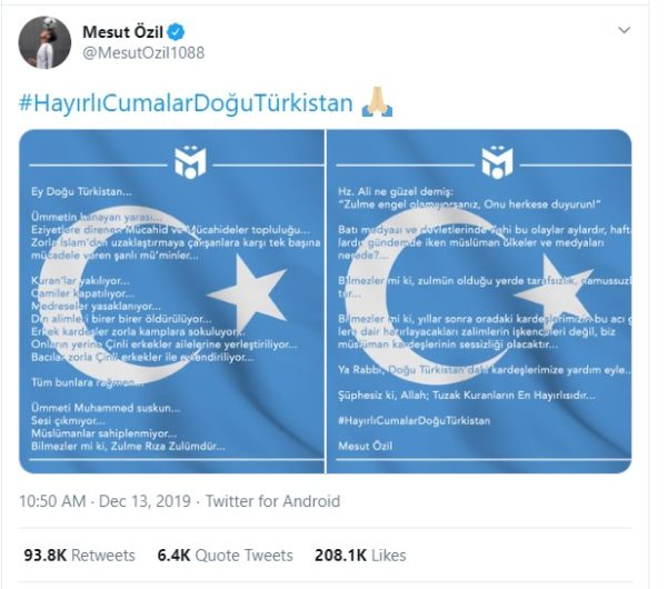 Mesut Ozil tweet about Uighur Muslims and their treatment in China