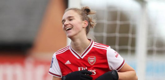 BOREHAMWOOD, ENGLAND - DECEMBER 01: Vivianne Miedema of Arsenal celebrates after scoring her sides fifth goal during the Barclays FA Women's Super League match between Arsenal and Bristol City at Meadow Park on December 01, 2019 in Borehamwood, United Kingdom. (Photo by Kate McShane/Getty Images)