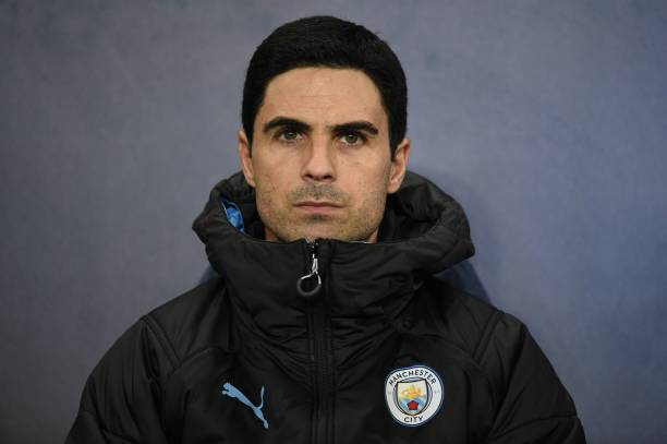 Manchester City's Spanish assistant manager Mikel Arteta takes his seat for the UEFA Champions League football Group C match between Manchester City and Shakhtar Donetsk at the Etihad Stadium in Manchester, north west England on November 26, 2019. (Photo by Oli SCARFF / AFP) (Photo by OLI SCARFF/AFP via Getty Images)