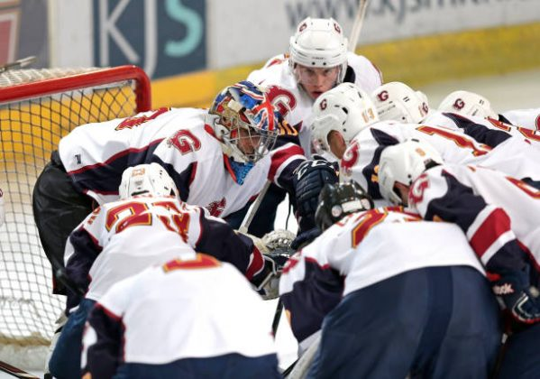 GUILDFORD, ENGLAND - OCTOBER 13: Petr Cech of Guildford Phoenix talks to team mates during the match between Guildford Phoenix and Swindon Wildcats on October 13, 2019 in Guildford, England. (Photo by Henry Browne/Getty Images)