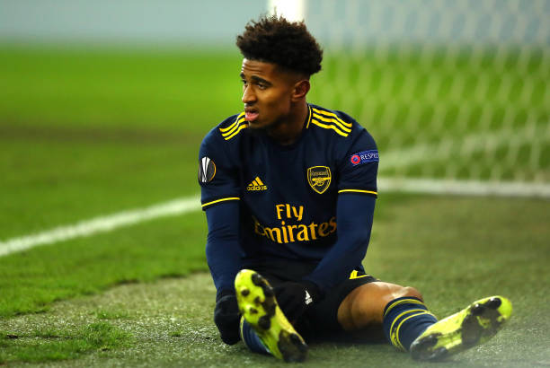 LIEGE, BELGIUM - DECEMBER 12: Reiss Nelson of Arsenal looks dejected after a missed chance during the UEFA Europa League group F match between Standard Liege and Arsenal FC at Stade Maurice Dufrasne on December 12, 2019 in Liege, Belgium. (Photo by Dean Mouhtaropoulos/Getty Images)