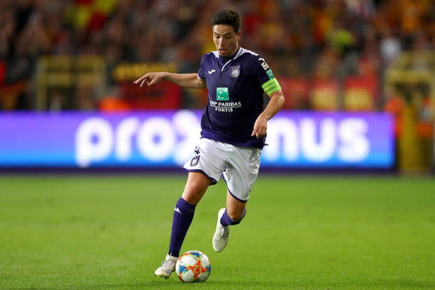 BRUSSELS, BELGIUM - AUGUST 09: Samir Nasri of Anderlecht in action during the Jupiler Pro League match between RSCA or Royal Sporting Club Anderlecht and KV Mechelen at Constant Vanden Stock Stadium on August 09, 2019 in Brussels, Belgium. (Photo by Dean Mouhtaropoulos/Getty Images)